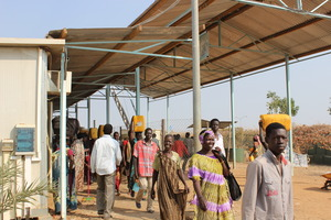 Displaced People entering a camp in Malakal