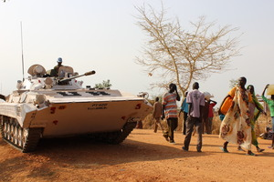 UN tank protecting the camp