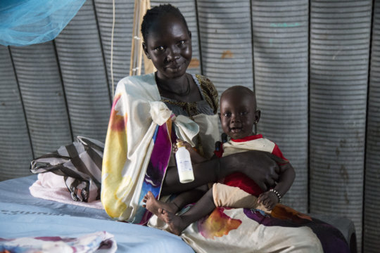 A mother and child visit the clinic in Malakal