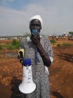 Community health worker shares hygiene information
