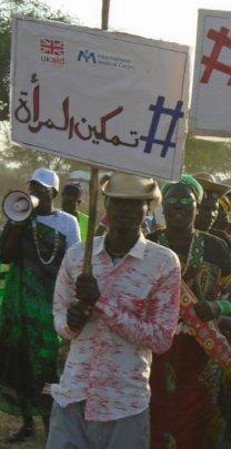 Men protesting for women's empowerment in S. Sudan