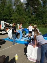 Painting tires for the agility course
