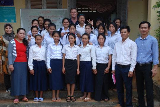 PEI girls at school with teachers and Glenn