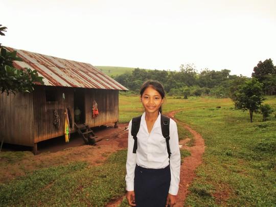 Sopheap on her walk to school
