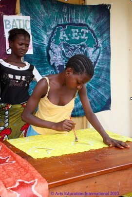 Bintu at a batik workshop in Daru