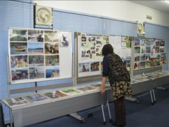 Display of the photographs and the articles