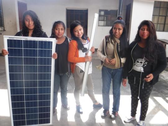 Highschool girls install solar on school 2017