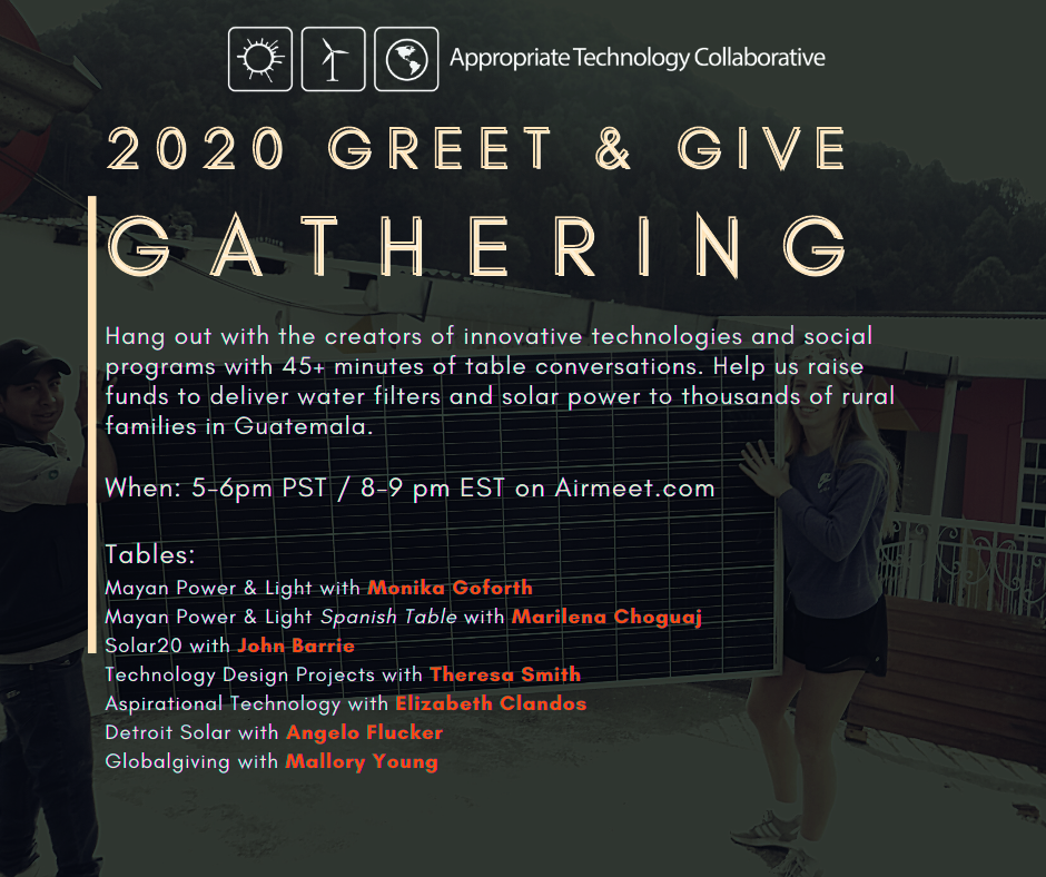 Chat with us at the Greet & Give Gathering!