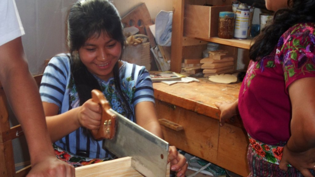 Mayan Woman Learning Carpentry Skills