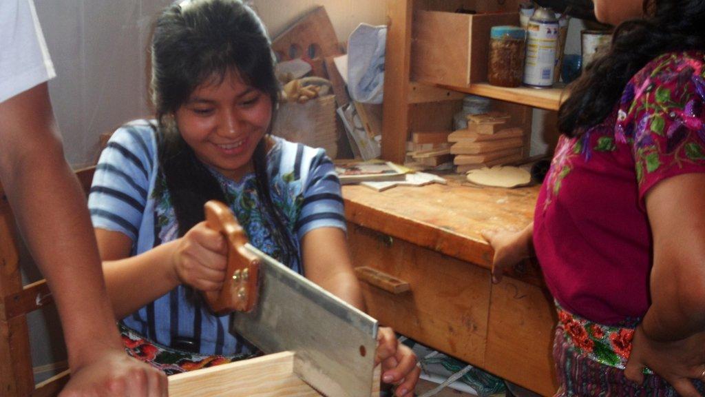 Mayan Woman Learning Carpentry Skills