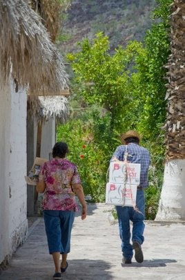 Walking back with solar pots