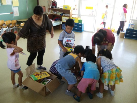 Delivering books to children