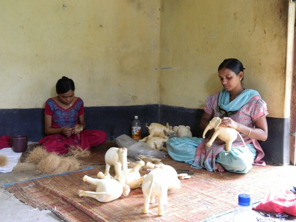 Women crafting toys