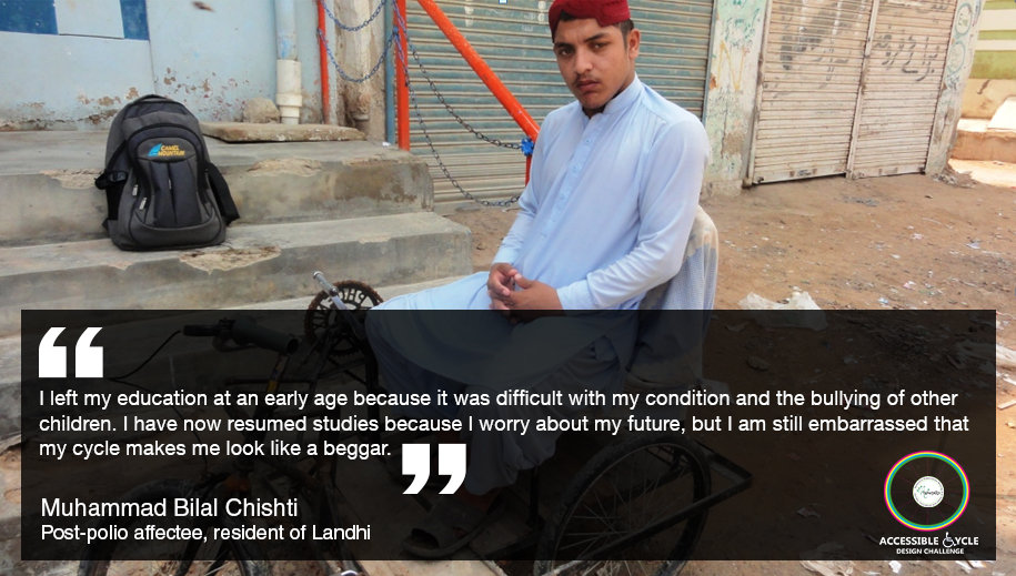 Bilal - a potential accessible cycle beneficiary