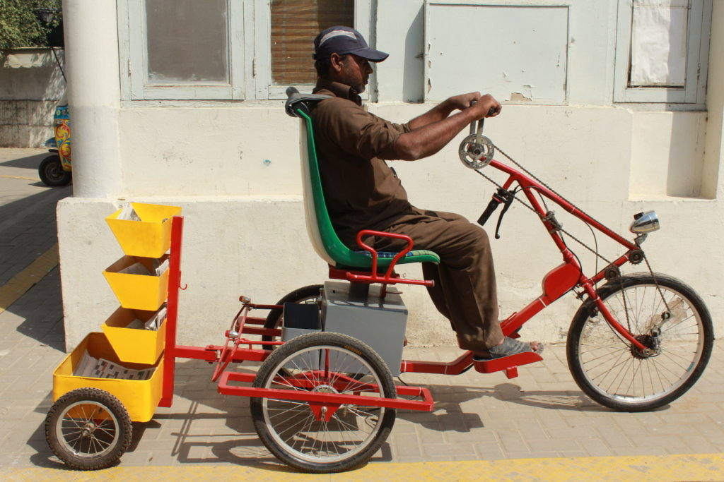 Khalid tries the accessible cycle prototype