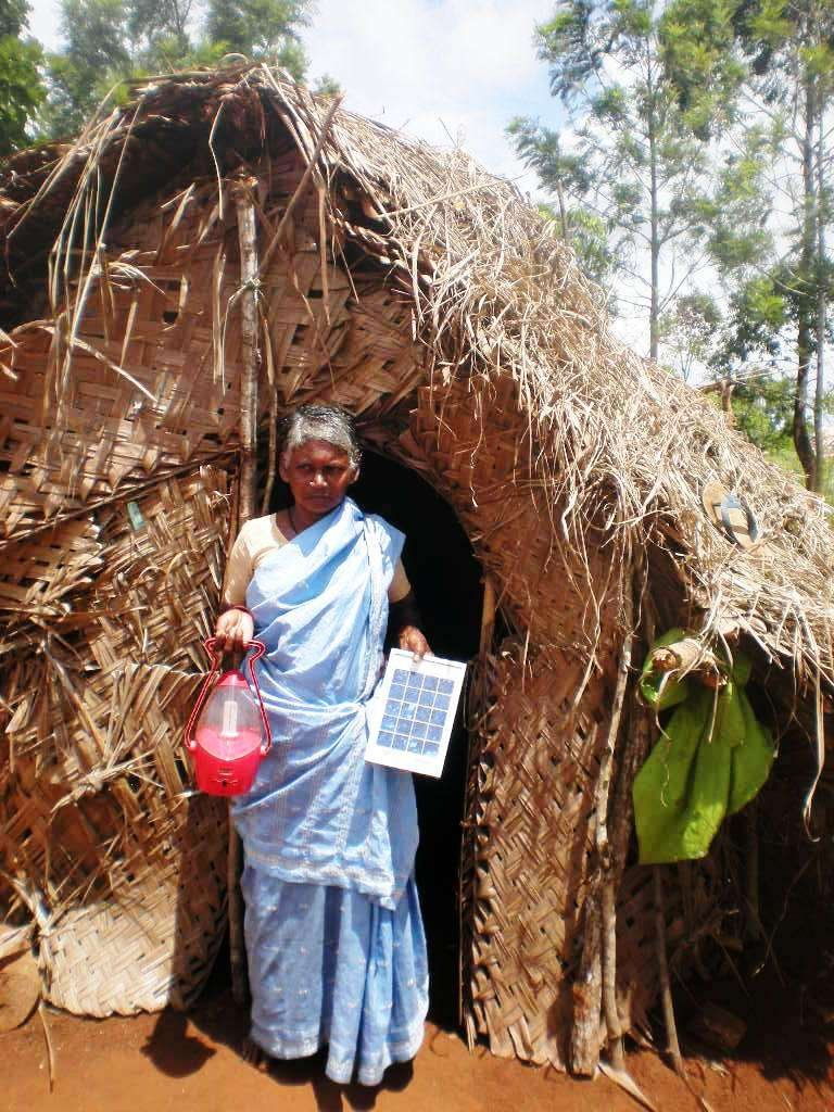 Mr.Palani, a tribe recieves solar lantern
