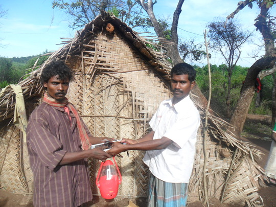 A tribe recieving solar lantern