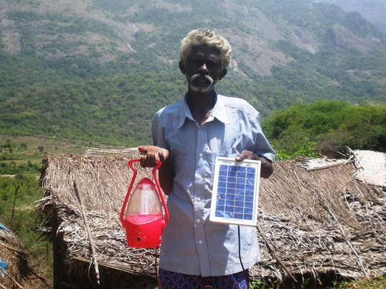 a tribe with solar lantern