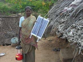 A tribe woman got solar lantern