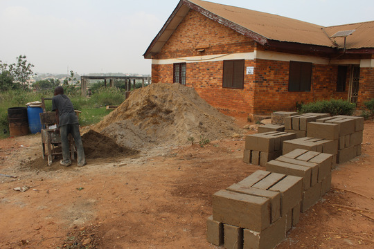 1st day of molding foundation concrete blocks