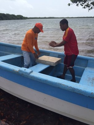 Loading materials on boat