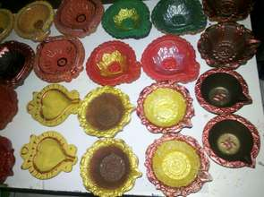 Diyas painted by the boys
