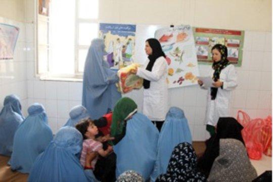 Women receiving health education