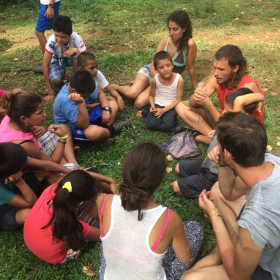 Corcovado Foundation staff working with children