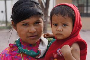 Tarahumara girl and infant