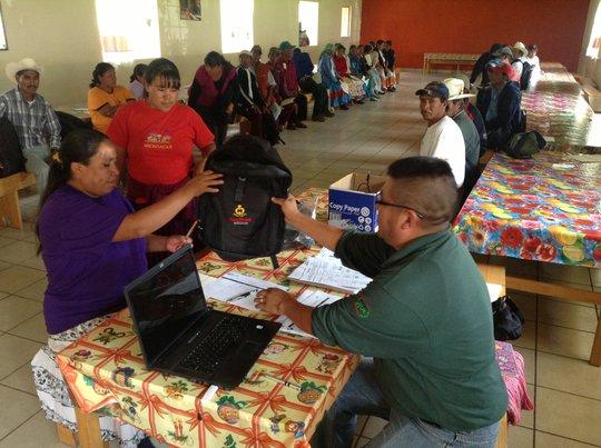 Distribution of volunteer backpacks