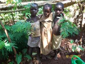 Children taking seedlings--from our nursery [2009]
