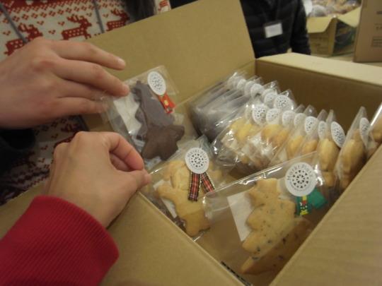 Box of homemade Christmas cookies