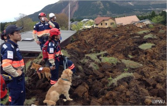 PWJ search and rescue crew in Kumamoto