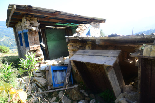 Destroyed toilets at Ramailo Jyoti