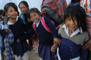 Girls in Nepal waiting for their new school