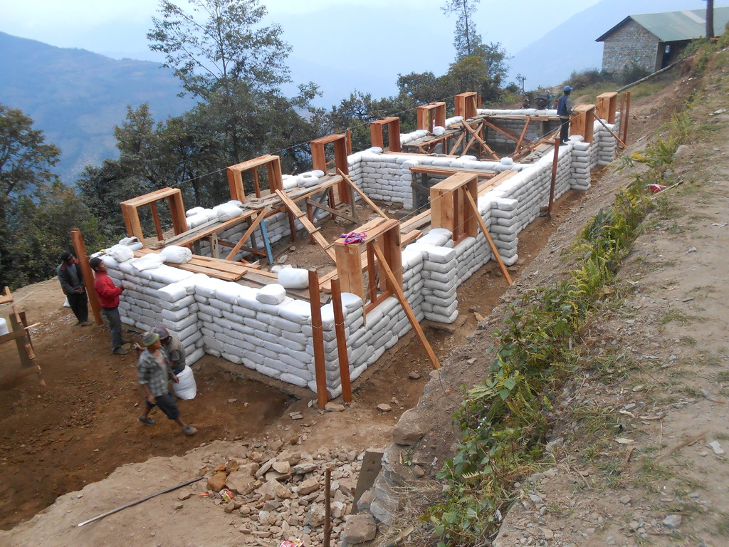 Classroom walls going up in Basa
