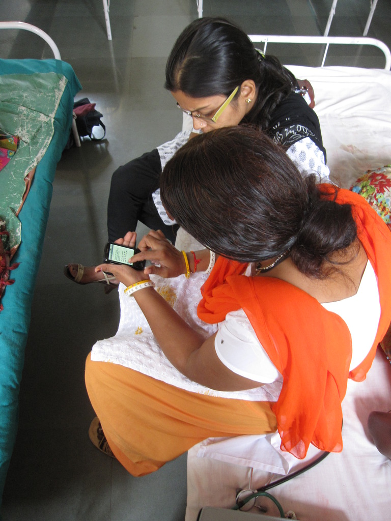 Nurse midwives using the Mobile Midwife Platform.
