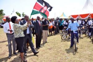 Celebration as the students take their bikes out