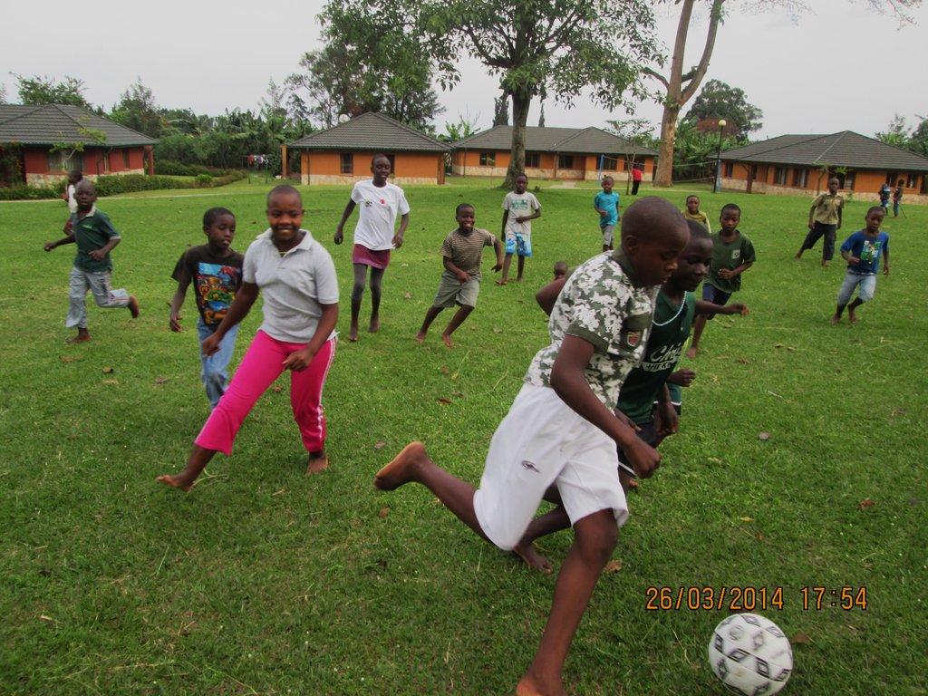Enjoying a game of fotball.