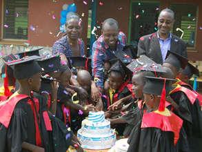 Celebrating the kindergarten graduation.