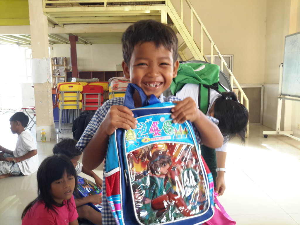Child with new school bag