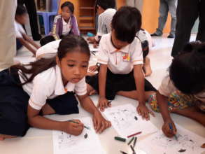 Children drawing at children clubs