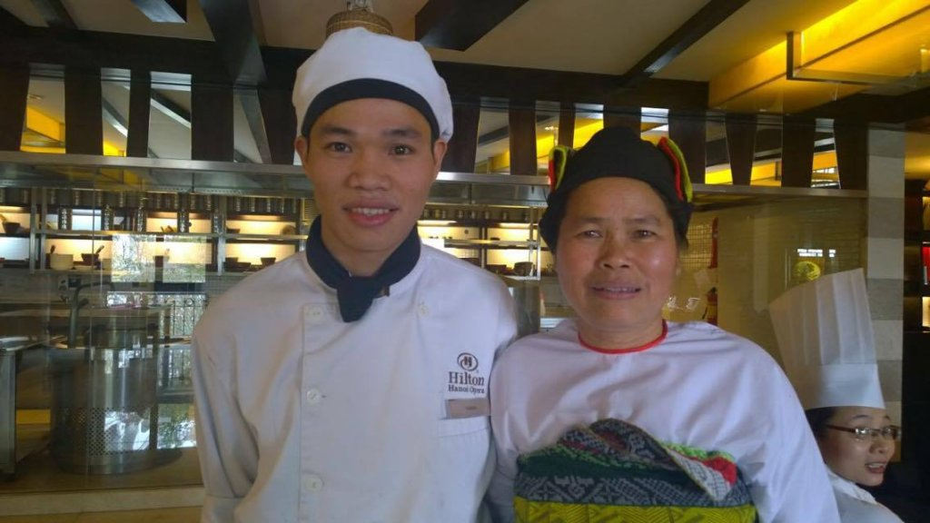 Cuong with his mother Xuan at his graduation