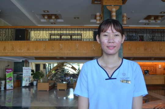 Anh at her workplace, the Green Plaza Hotel Danang