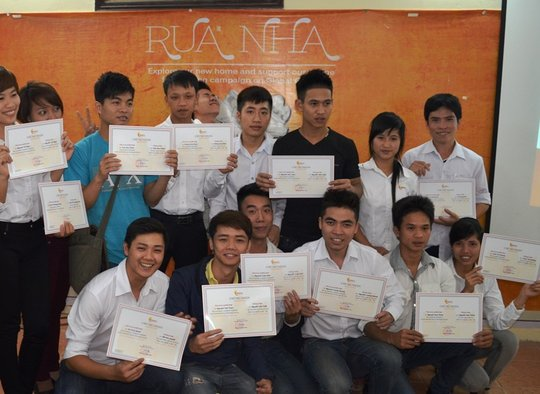 Ba and his classmates at graduation ceremony