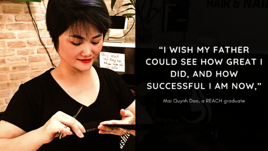 Mai Quynh Dao, a hairdressing alumni at REACH