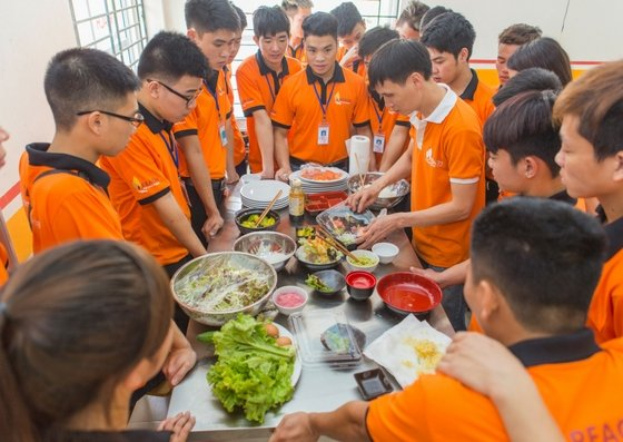 Students at our new cooking class in Hanoi