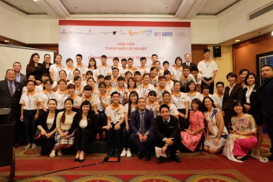 Students and staff at the launch of YCI Vietnam