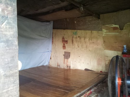 Inside a temporary house