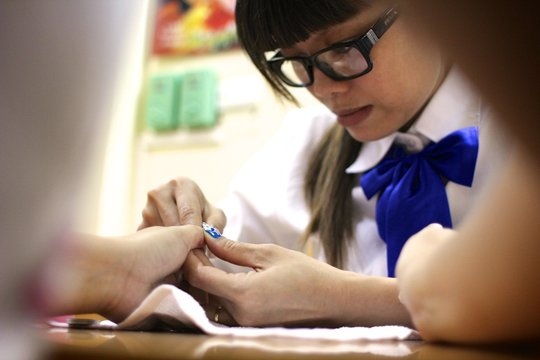 Nail Art takes concentration and precision